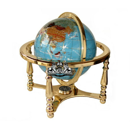 Unique Art 13-Inches Tall Table Top Turquoise Ocean Gemstone World Globe with Gold 4 Legs