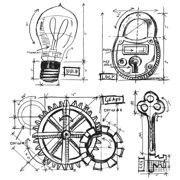 Stampers Anonymous Tim Holtz Cling Rubber Stamp Set-Industrial Blueprint