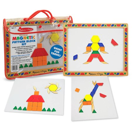 Melissa & Doug Deluxe Wooden Magnetic Pattern Blocks Set - Educational Toy With 120 Magnets and Carrying Case Doug Magnetic Number Maze