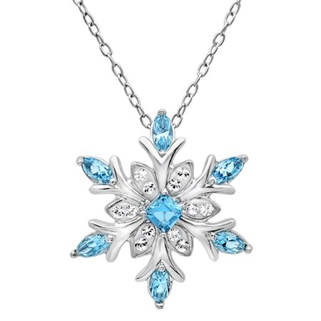 Cheap Blue Necklaces (Amanda Rose Collection Sterling Silver Blue and White Snowflake Pendant Necklace with Swarovski)