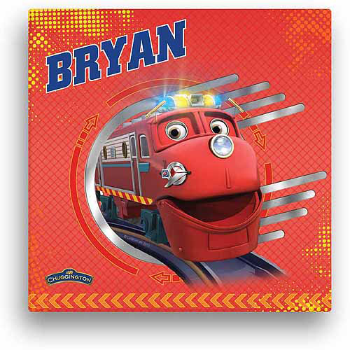 "Personalized Chuggington Wilson Tracks 12"" x 12"" Canvas Wall Art"