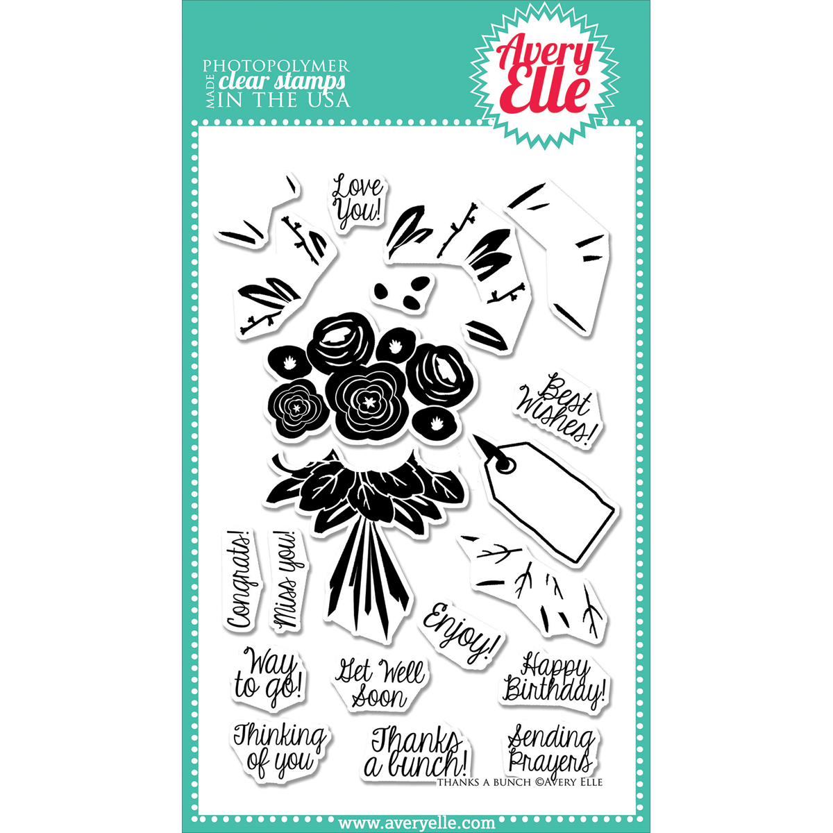 """Avery Elle Clear Stamp Set 4""""X6""""-Thanks A Bunch"""