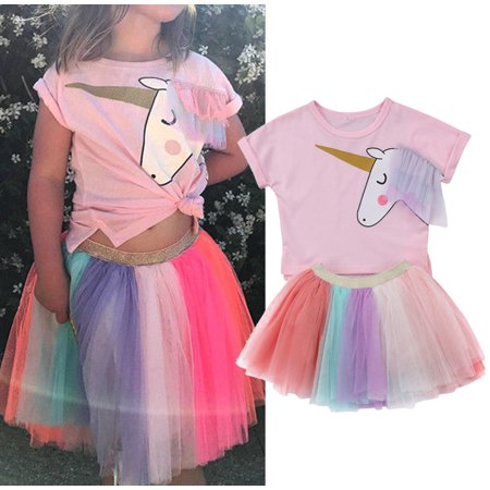 Fashion 2Pcs Toddler Kids Baby Girls Party Birthday Unicorn Top T-shirt Tulle Tutu Skirt Outfits Princess Cotton Clothes Summer 6-12