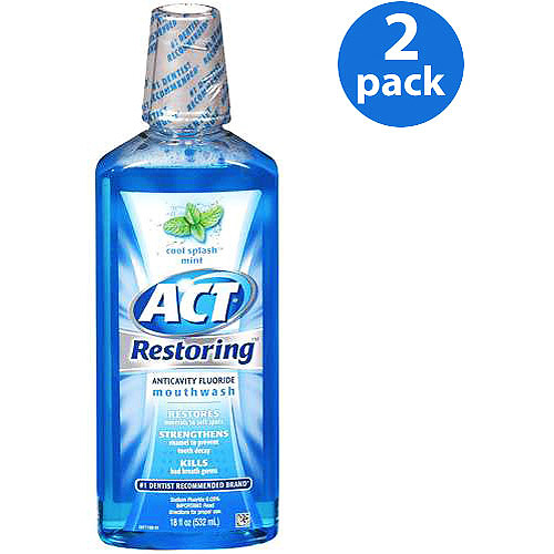 Act Cool Mint Restoring Anticavity Fluoride Mouthwash, 18 fl oz (Pack of 2)