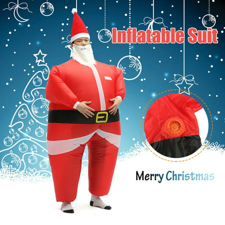 Mens Santa Outfit (Christmas Inflatable Costume Adult Inflatable Santa Claus Blow Up Costume Fancy Party Dress Suit Outfit)