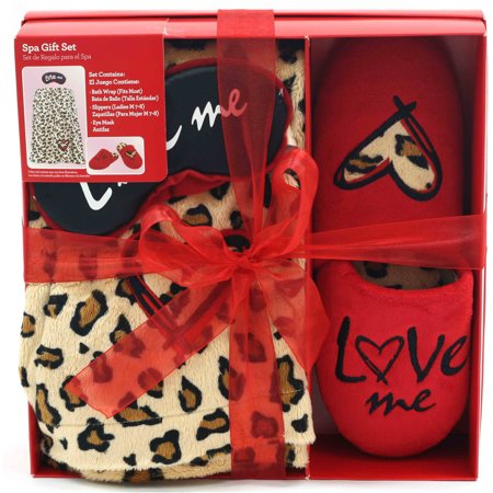 Valentines Day Spa Gift Set With Shower Wrap  Slippers And Eye Mask