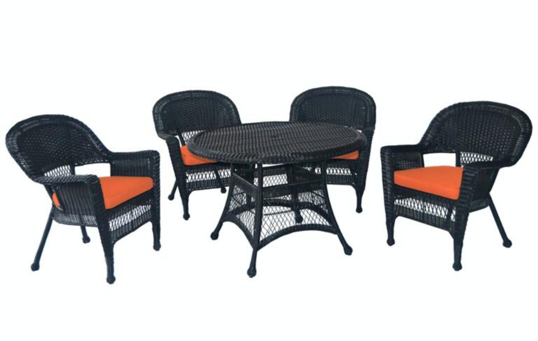 Beau 5 Piece Black Resin Wicker Chair U0026 Table Patio Dining Furniture Set    Orange Cushions   Walmart.com