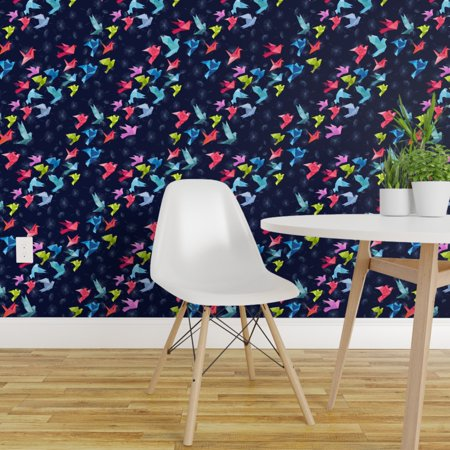 Removable Water Activated Wallpaper Origami Folded Paper Cranes Rainbo