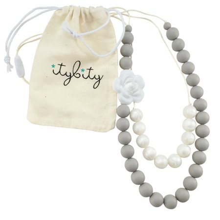 Baby Teething Necklace for Mom, Silicone Teething Beads, 100% BPA Free (Custom Soft Gray/Pearl)