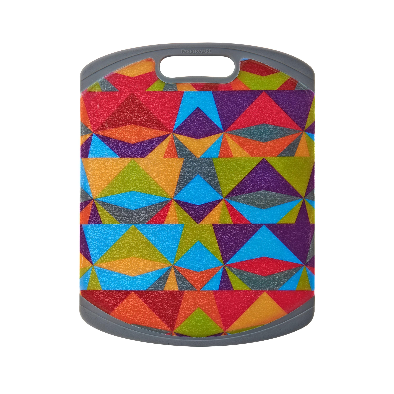 Farberware 11 Inch By 14 Inch Non-Slip Modern Triangles Poly Cutting Board