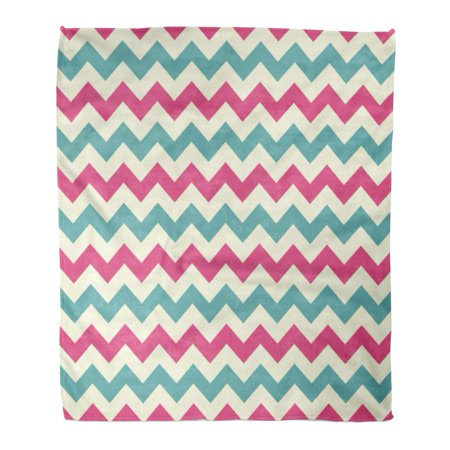ASHLEIGH Throw Blanket 58x80 Inches Purple Abstract Chevron Zig Zag Pattern Teal Classic Contemporary Cream Diagonal Warm Flannel Soft Blanket for Couch Sofa Bed (Teal And White Chevron Rug)