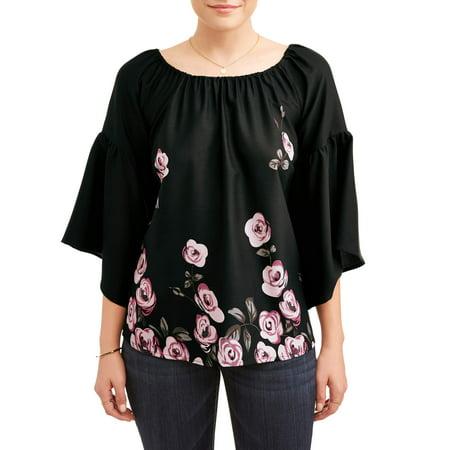 Women's Chiffon Bell Sleeve Top