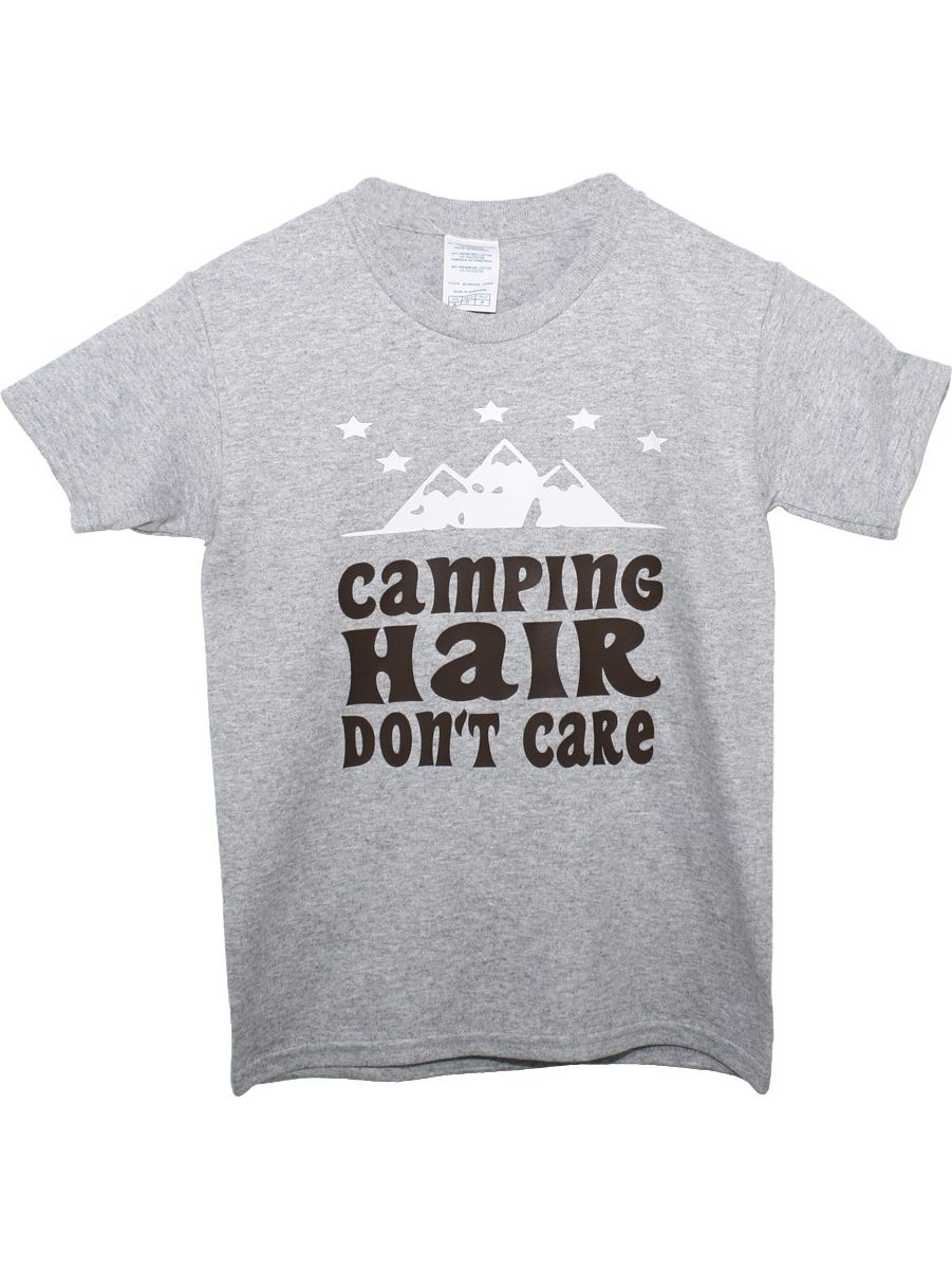 """Unisex Grey """"Camping Hair Don't Care"""" Print Cotton Short Sleeve T-Shirt 6"""