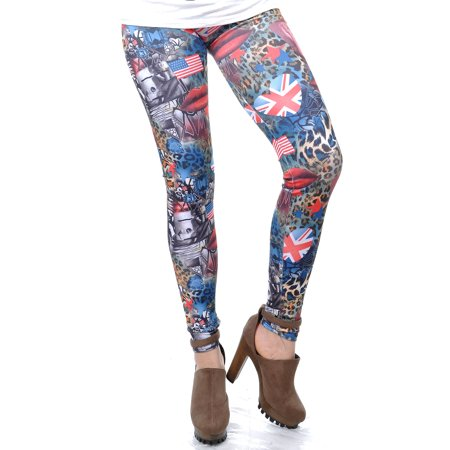 Free Size Red Blue Patriotic Gaga-Inspired Queen Animal Print Leggings