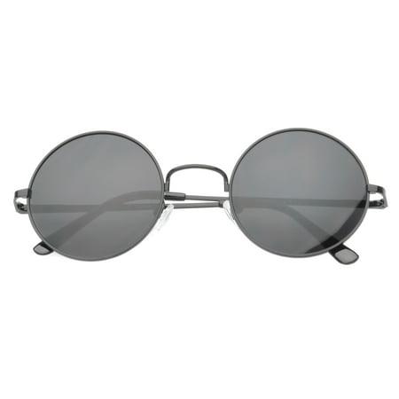 MLC Eyewear Vintage John Lennon Inspired Round Sunglasses Classic Tinted Lens (Rose Tinted Round Sunglasses)