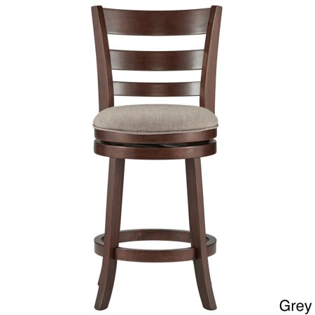 Inspire Q Verona Linen Ladder Back Swivel 24 Inch High Counter Height Stool By