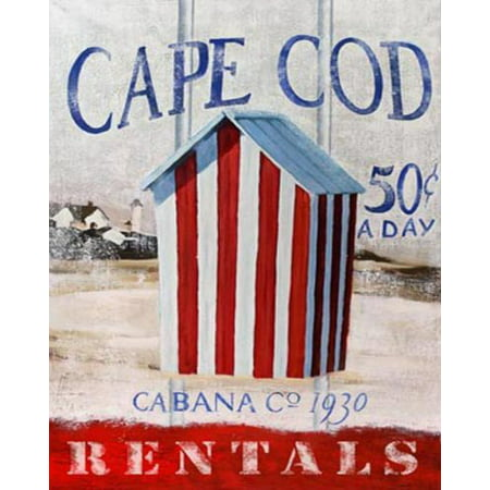 Cape Cod Cabana by Robert Downs 7x5 (card) Poster MASSACHUSETTS CAPE COD COASTAL NAUTICAL BEACH CHANGING AREA VINTAGE BEACH SCENE LIGHTHOUSE BEACH CAB BEACH RENTALS CARD