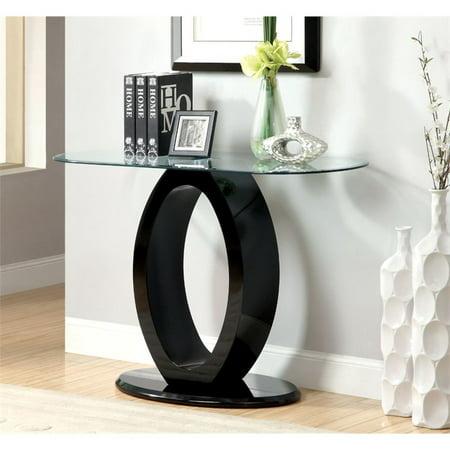 Furniture of America Mason Glass Top Console Table in