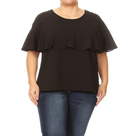 MOA COLLECTION Women's Plus Size Solid Basic Casual Ruffle Layer Flutter Short Sleeves Top Tee Blouse ()