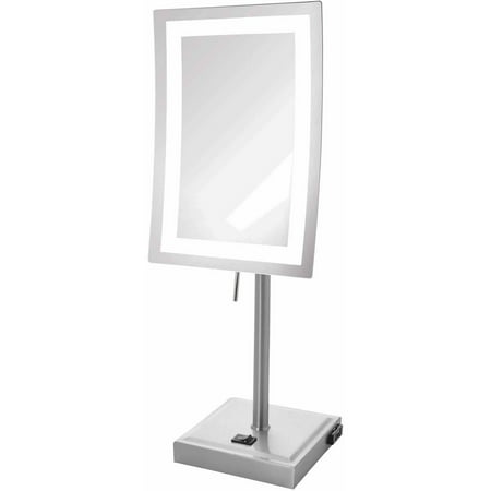 Jerdon JRT910NL 5X Magnified Lighted Tabletop Rectangular Mirror, Nickel Finish, 67.2 oz