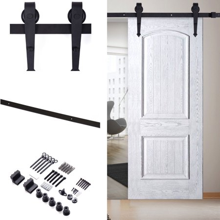 6 FT Black Door Hardware Carbon Steel Sliding Barn Track Rail Kit Wall - Door Panel Rails