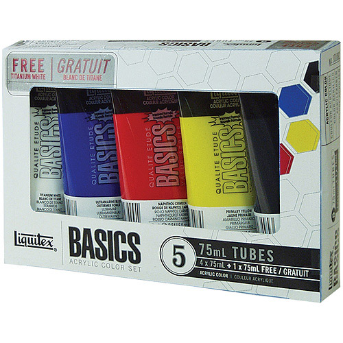 Liquitex Basics Acrylic Paint 75ml/Tube, Assorted Colors, 5/pkg