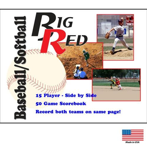 Big Red Side-by-Side Baseball Softball Scorebook, 15 player   50 game by