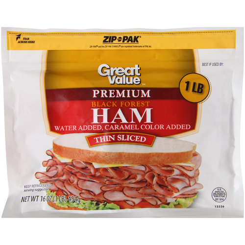 Great Value Premium Thin Sliced Black Forest Ham, 16 oz