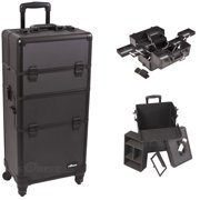 Black Dot Pattern 4-Wheels Professional Rolling Aluminum Cosmetic Makeup Case and Multiple Expandable Trays - I3661