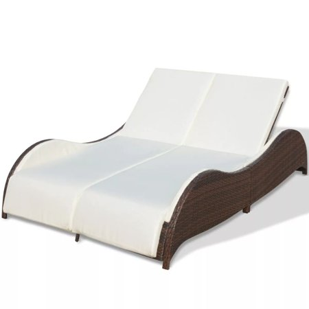 HERCHR Double Sun Lounger with Cushion Poly Rattan Brown ()