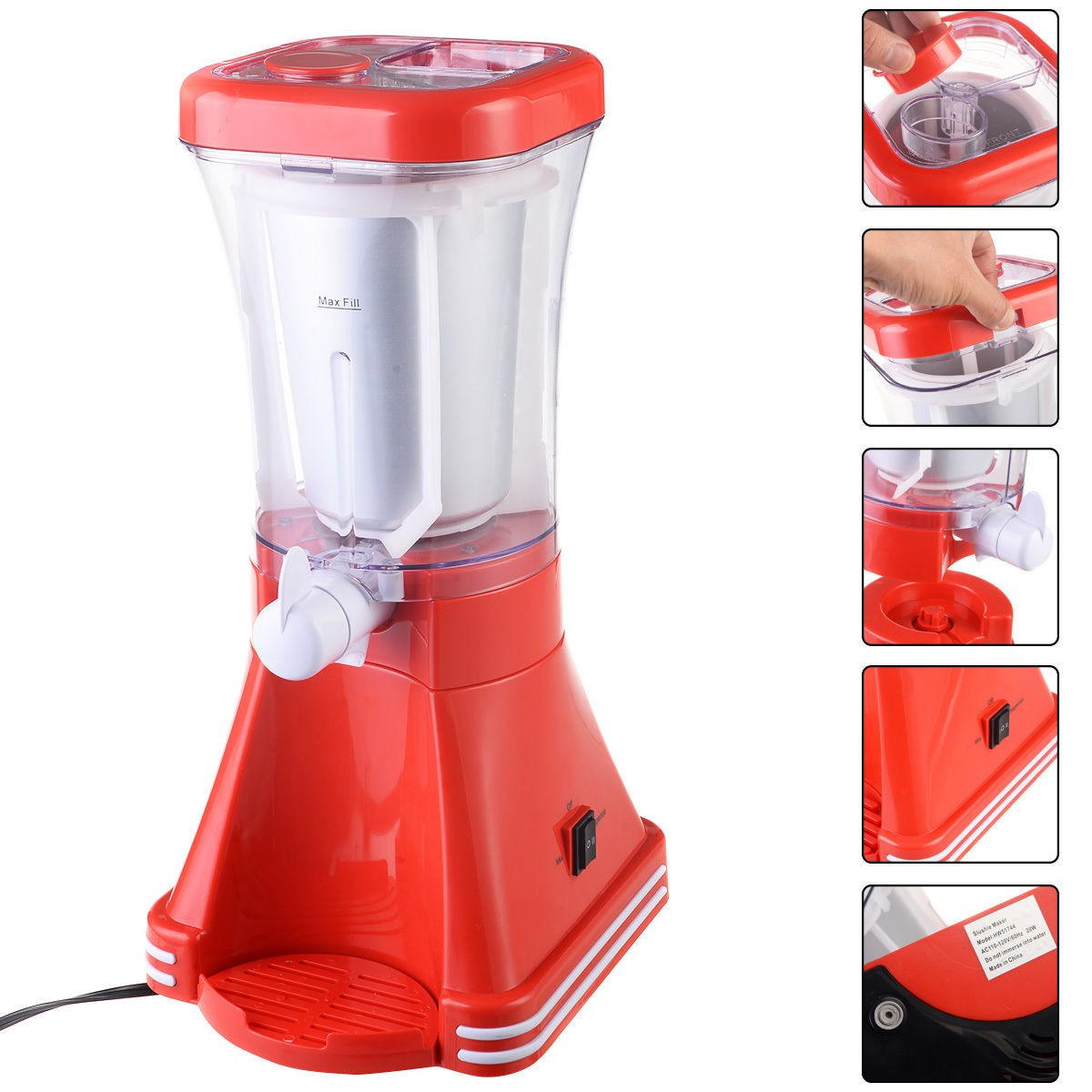 Slush Drink Maker Retro Machine Blender Ice Slushie Marga...