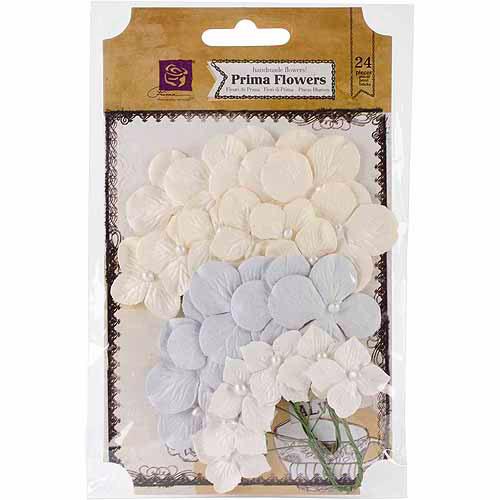 Prima Marketing Frost Paper Flowers, 24pk