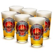 Fire 16 oz. Pint Glass Red Tribute High Honor Firefighter (Case of 12) by Erazorbits