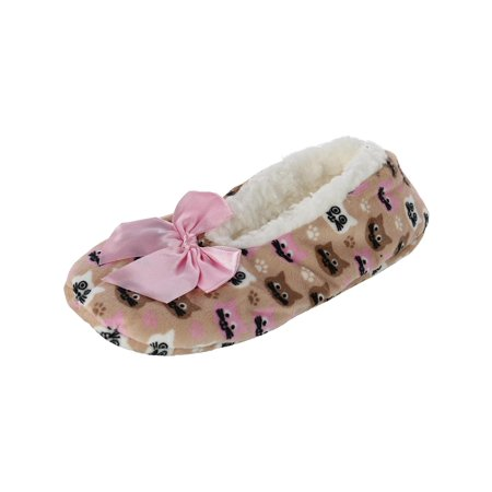 Women's Animal Face Print Slipper with Bow