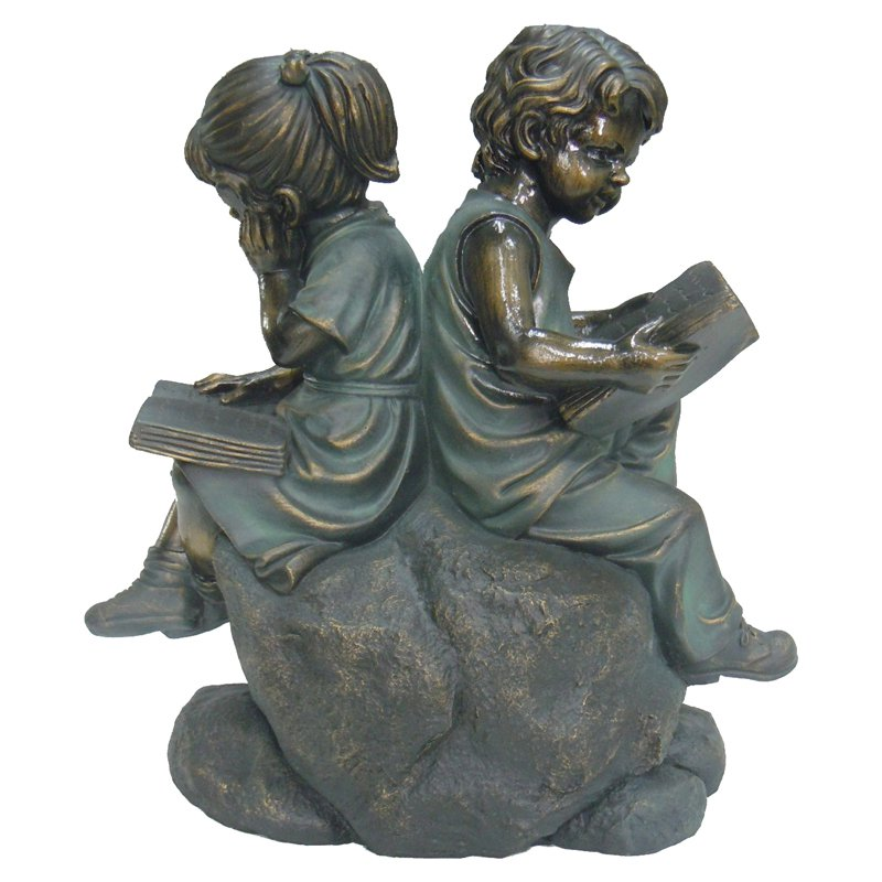 Hi-Line Two Kids Sitting on Stone and Reading Statue