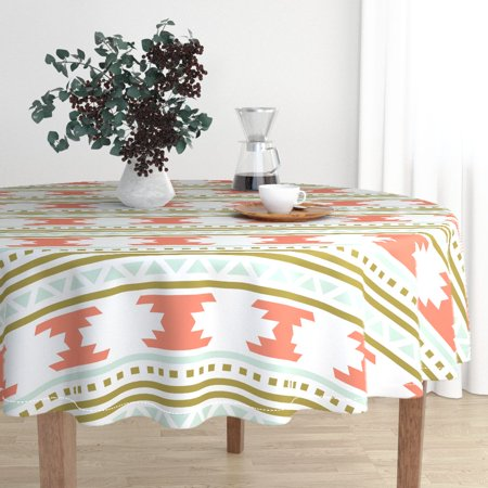 Round Tablecloth Boho Geo Mint Coral Mustard Aztec Triangles Cotton Sateen