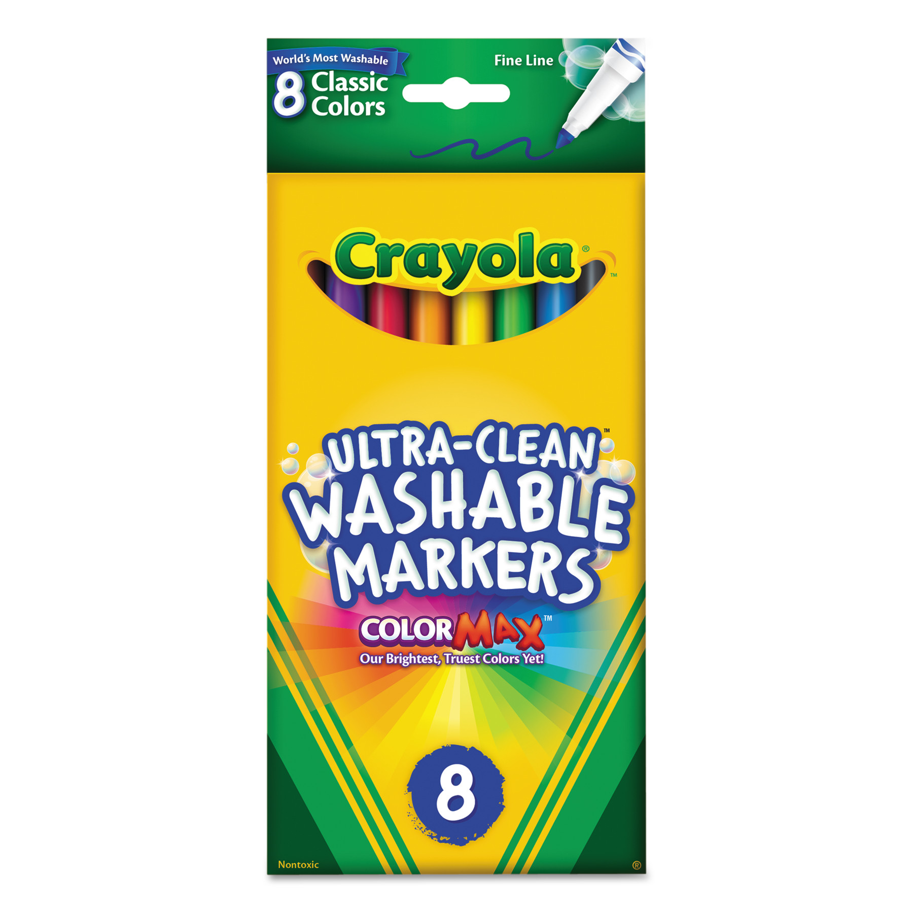 Crayola Washable Markers, Fine Point, Classic Colors, 8 Count