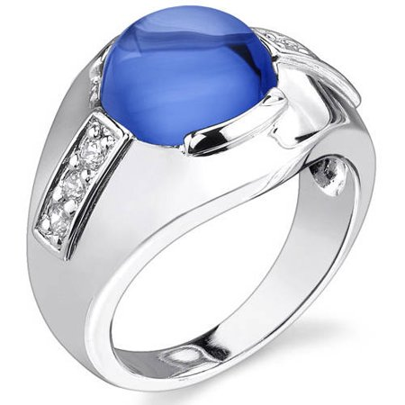 Oravo Men's 7.00 Carat T.G.W. Round Cabochon Created Blue Sapphire Rhodium over Sterling Silver Ring