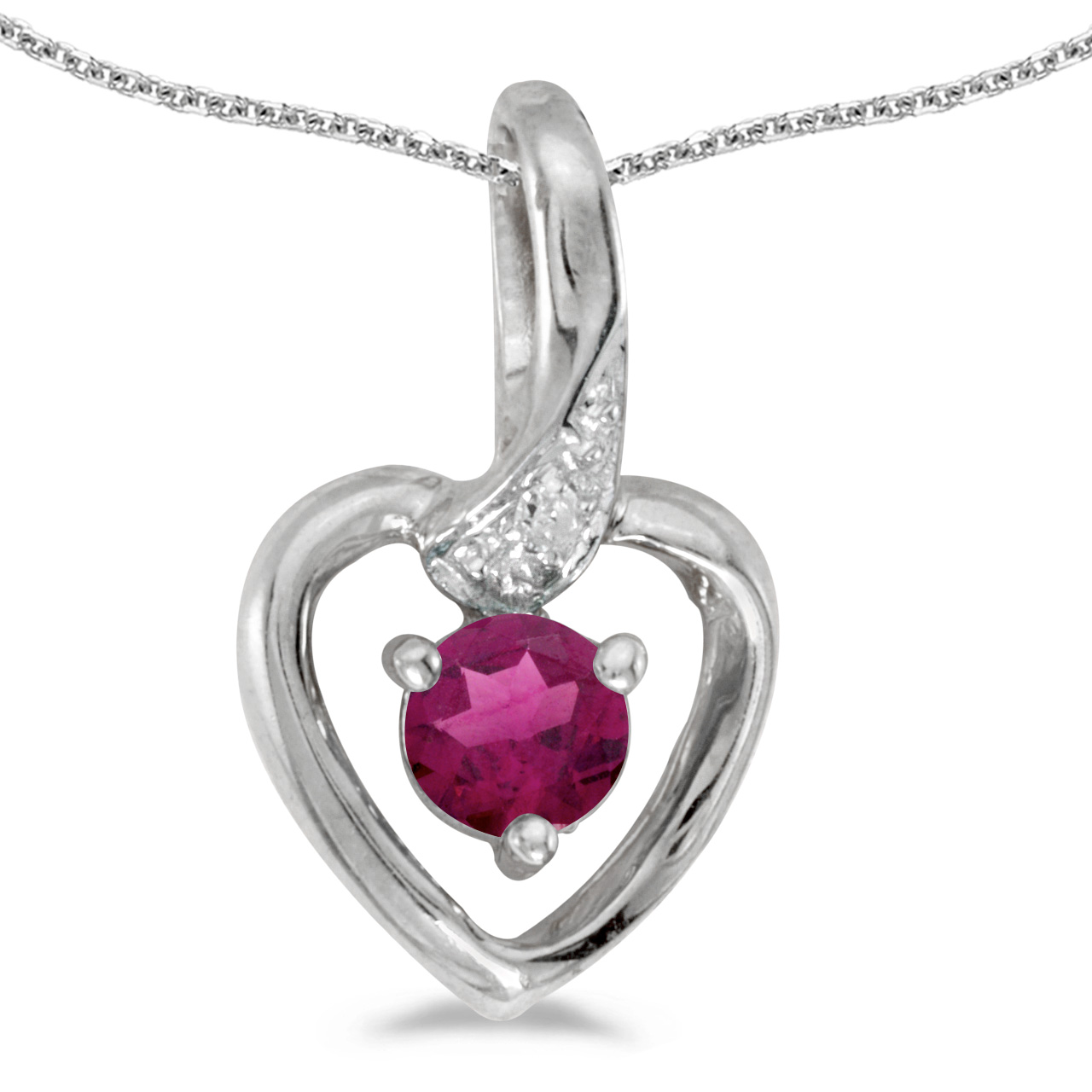 "14k White Gold Round Rhodolite Garnet And Diamond Heart Pendant with 18"" Chain"