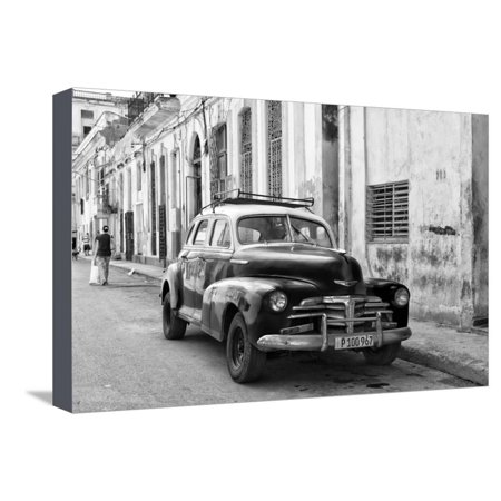 Cuba Fuerte Collection B&W - Old Chevy in Havana II Stretched Canvas Print Wall Art By Philippe Hugonnard