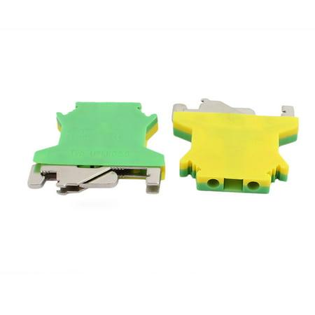 15Pcs 43x40x6mm 2.5mm2 Wire Universal Grounding Terminal Block Yellow Green - image 1 of 2
