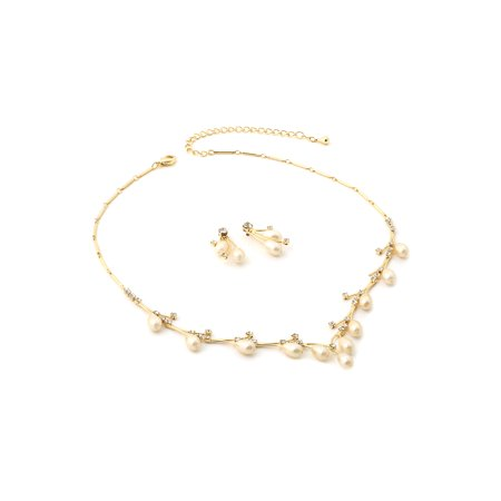 - Gold Crystal Rhinestone and Oval Cream Pearls Necklace with Matching Earrings Jewelry Set
