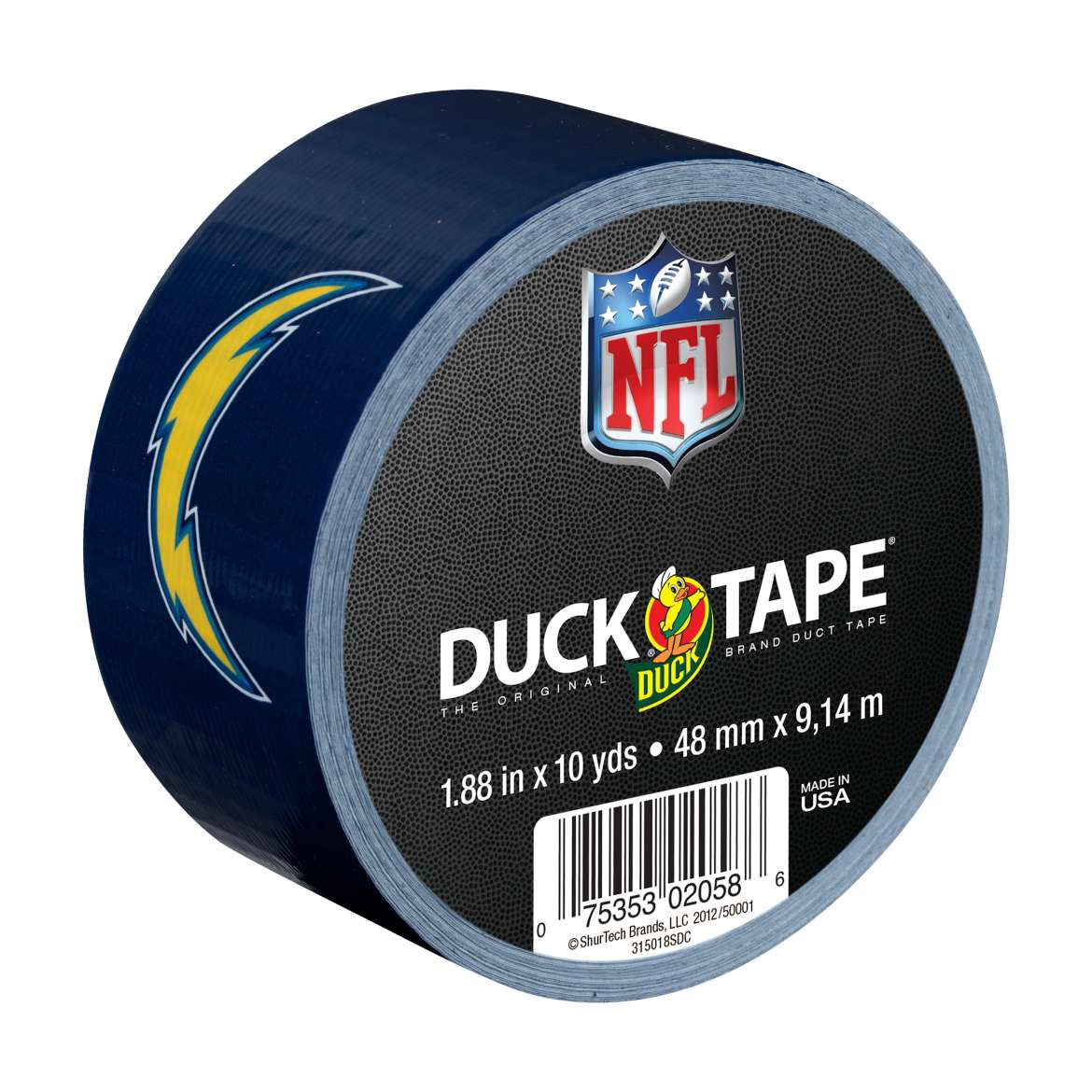 "Duck Brand Duct Tape, NFL Duck Tape, 1.88"" x 10 yard, San Diego Chargers"