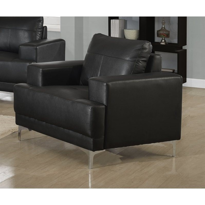 Monarch Leather Accent Chair in Black