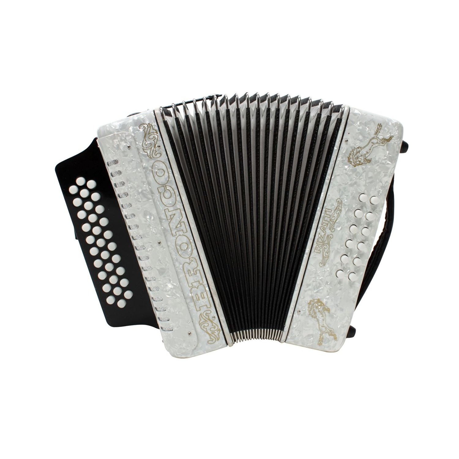 Rizatti Bronco RB31FW Diatonic Accordion - White - Key F/Bb/Eb