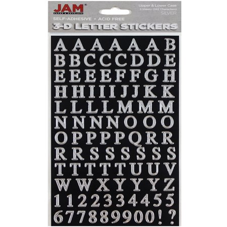 JAM Paper® Self Adhesive Alphabet Letters Stickers - Silver - 2/pack