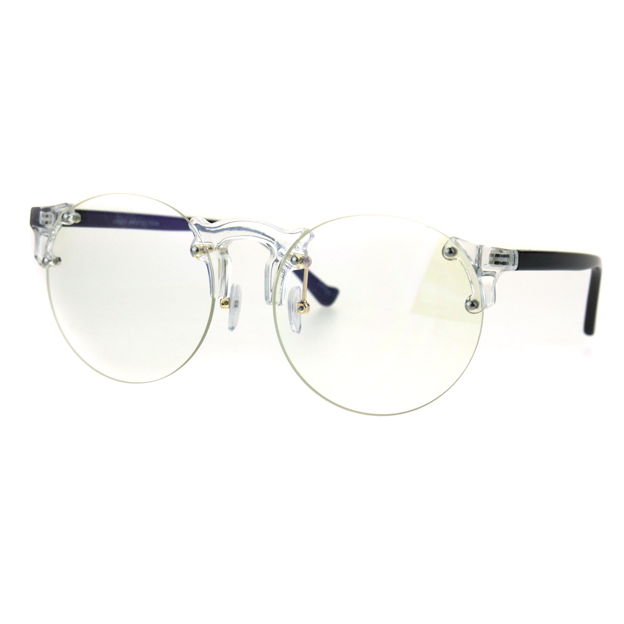 db3aae3458 Retro Hipster Clear Lens and Frame Round Plastic Rimless Eye Glasses Clear  Black - Walmart.com