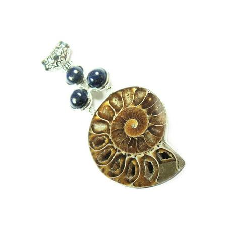 40x75mm Ammonite large pendant with 3 lapis stones fashion jewelry