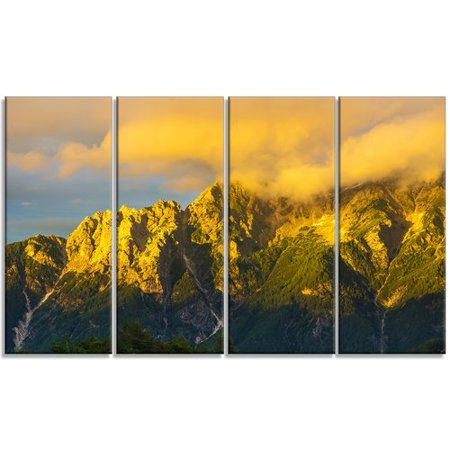 Design Art 'Highrise Green Mountains' 4 Piece Photographic Print on Wrapped Canvas - Mountain 4 Light
