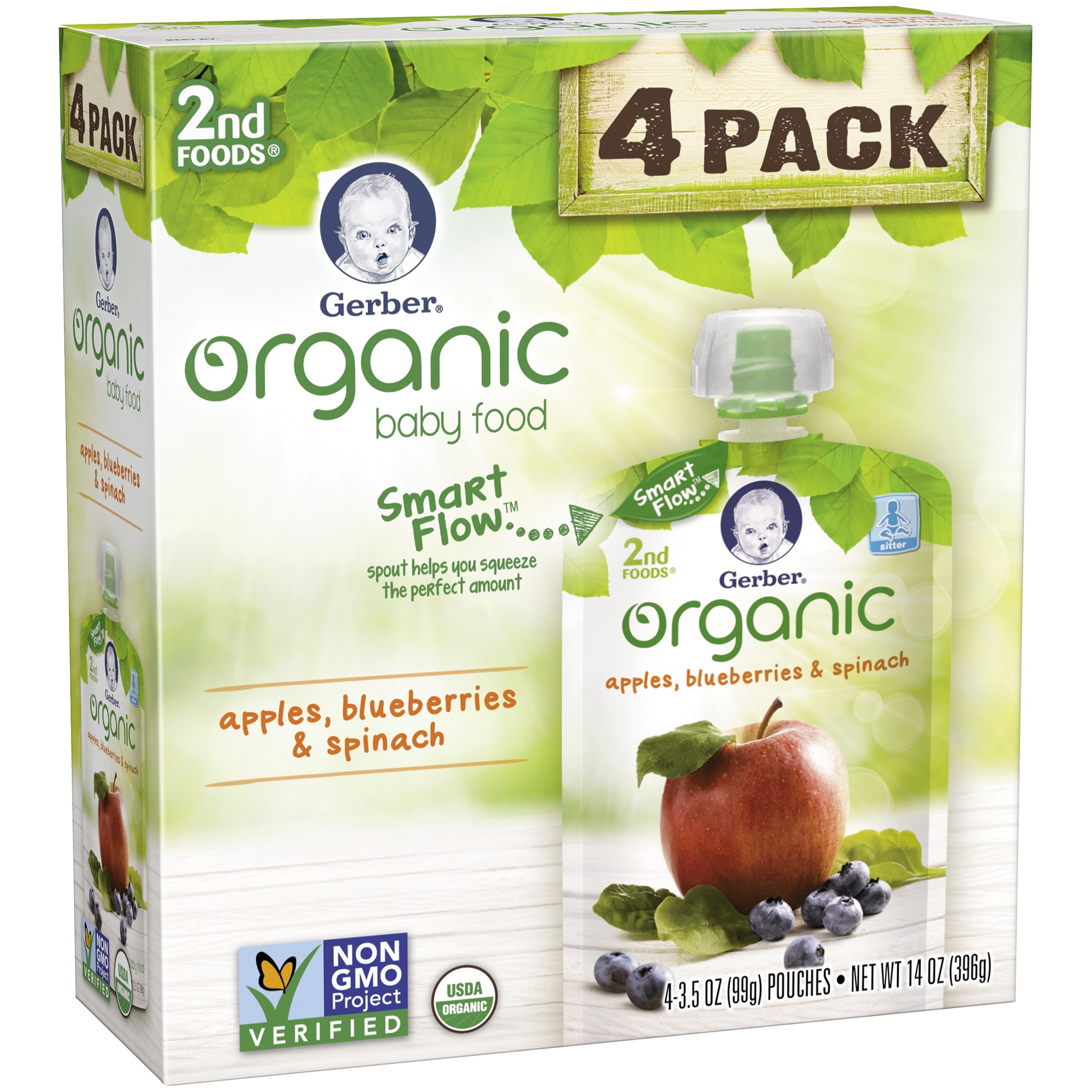 <mark>Gerber</mark> Organic 2nd <mark><mark>Food</mark>s</mark> <mark>Baby</mark> <mark>Food</mark>, Apples, Blueberries & Spinach, 3.5 oz Pouch (Pack of 4)